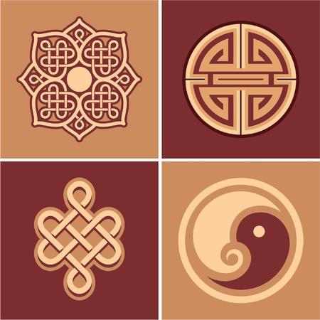 chinese pattern: Set of Oriental Design Elements
