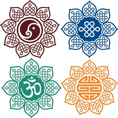 yin y yang: Conjunto de elementos de diseño oriental