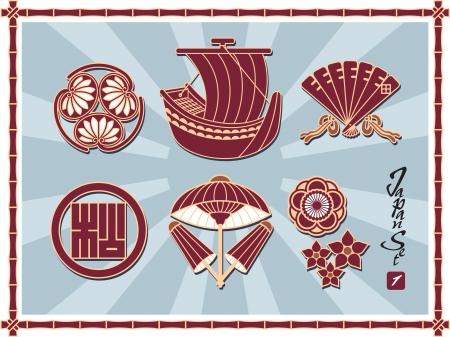 japanese fan: Set of Traditional Japanese Pattern