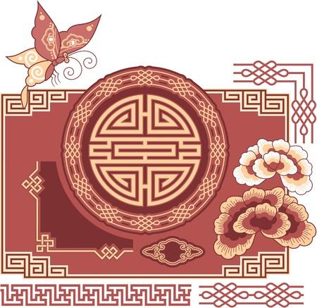 flores chinas: Juego de orientales - Elementos de dise�o - Chino