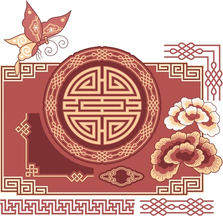 korean traditional: Set of Oriental - Chinese - Design Elements