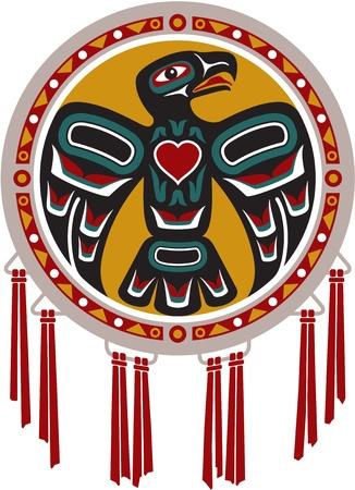 aguila americana: Nativo Americano tambor con Eagle Vectores