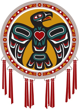 indio americano: Nativo Americano tambor con Eagle Vectores