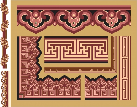 chinese knot: Set of Oriental Borders and Frames