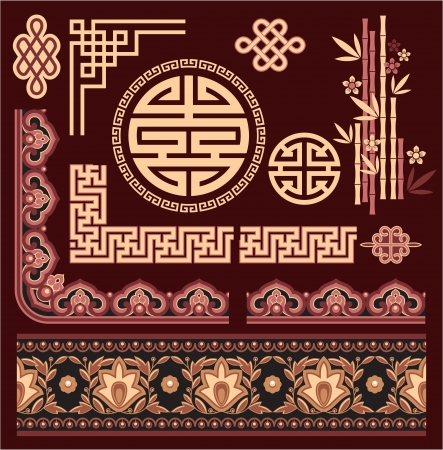 japanese pattern: Set of Oriental Pattern Elements