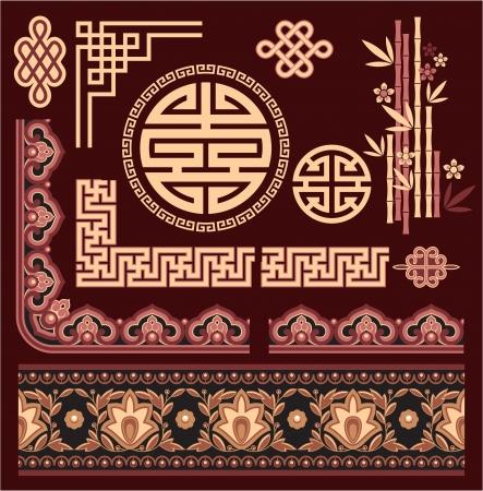 chinese border: Set of Oriental Pattern Elements