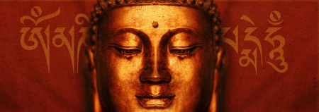 Buddha Face with Sanskrit  Om Mani Padme Hum  photo