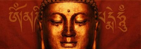 sanskrit: Buddha Face with Sanskrit  Om Mani Padme Hum