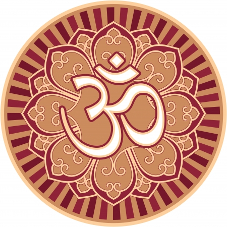 om symbol: Om - Aum - Symbol in Flower Rosette Illustration
