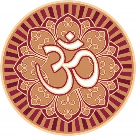 Om - Aum - Symbol in Flower Rosette Illustration