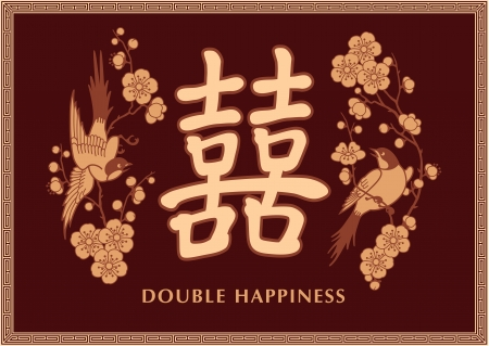 caligraphy: Double Happiness Symbol with Two Birds