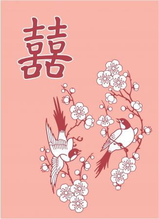 Doble Felicidad Símbolo con dos pájaros