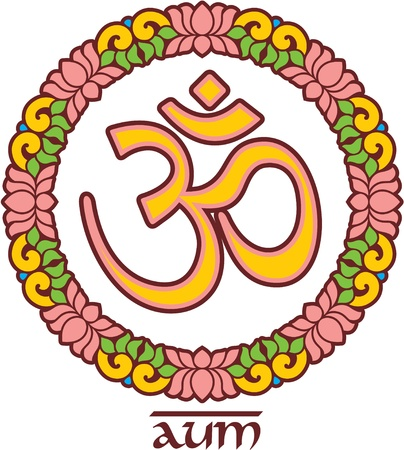Aum-Om Symbol in Lotus Rosette Vector