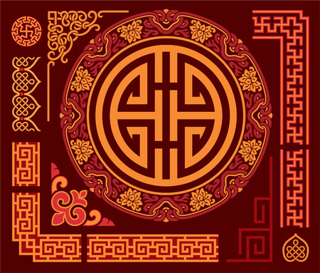 Set van Oriental - Chinese - Design Elements Stock Illustratie