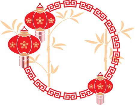 Vector Chinese Frame met Lantaarns en Achtergrond van het Bamboe Stock Illustratie