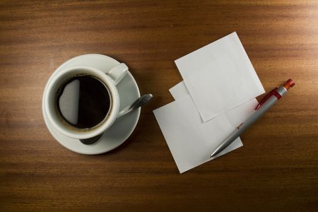 Note Card, Pen and Coffee Cup on Wood Background. Stock Photo - 6521491