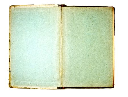 Two blank Pages in ancient Book, on a white background photo