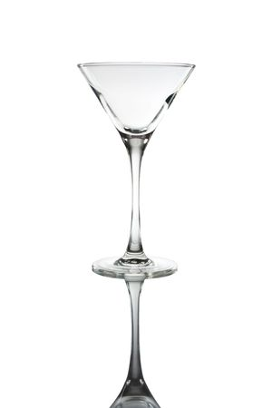 Empty glass on white background photo