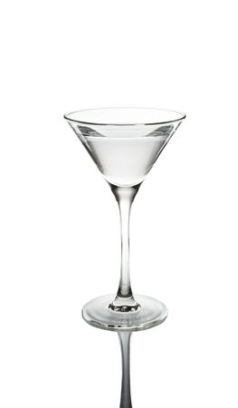 Glass of martini with reflexion on a white background photo