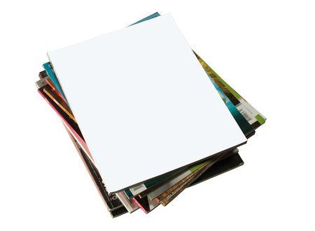 portada de revista: disparo de pila de revistas con cubierta en blanco