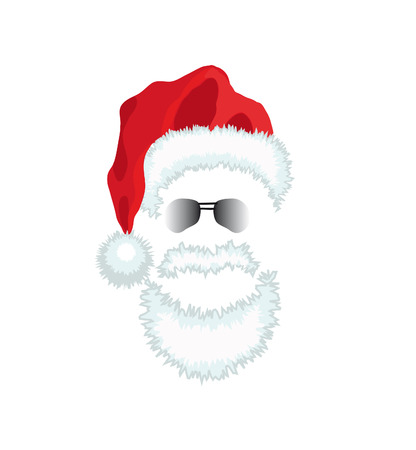 cartoon hat: Red Santa Claus Hat, beard and glasses Illustration