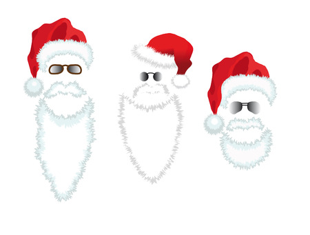 Red Santa Claus Hat, beard and glasses.   illustration isolated on green background.