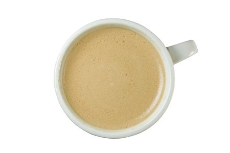 Classical cup of just brewed coffee. Fresh foam indicates that coffee was just brewed. Isolated on white.