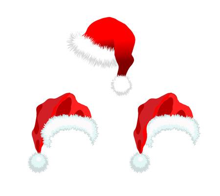 Drie rode kerst man muts. illustratie geïsoleerd op een witte achtergrond.