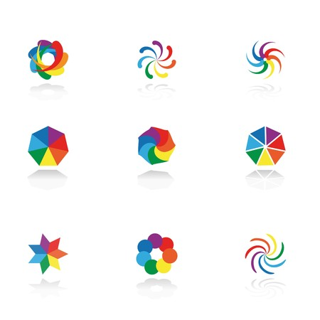 round logo: Collection of 9 design elements and graphics.   CMYK. Illustration