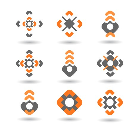 Collection of 9 design elements and graphics.  CMYK. Vector