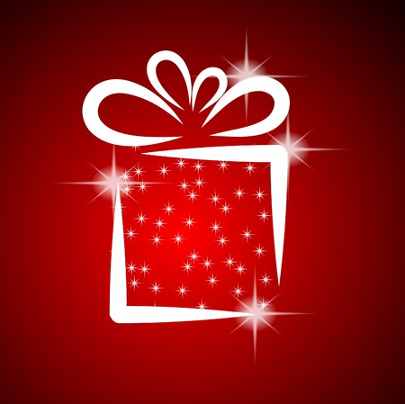 Christmas illustration with gift box on red background Vector