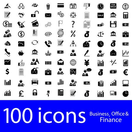 100 iconen Business, Office & Finance Vector Illustratie