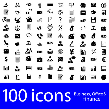 www icon: 100 icons Business, Office & Finance Illustration