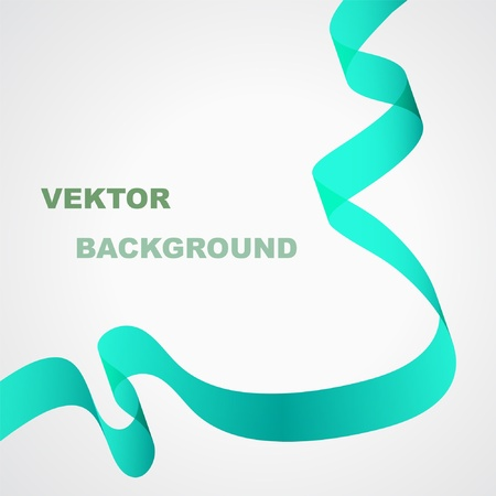 Abstract vector background. Green ribbon. Illustration