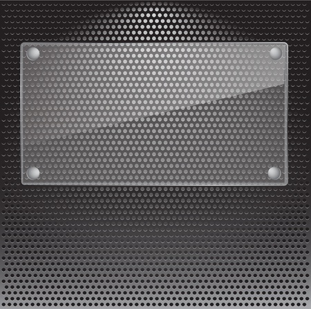 speaker grill: Realistic vector speaker grill background with glass