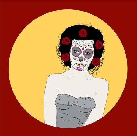 Woman as sugar skull. Day Of Dead Girl Vector