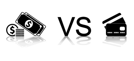 Cash vs card. Black and white vector illustration. Vector