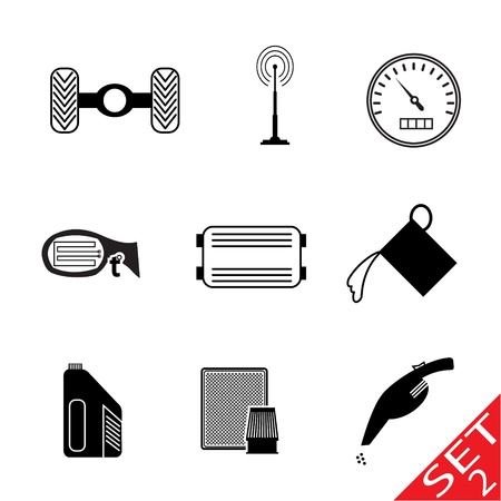 Car icon parts and accessories. Vector Illustration. Vector