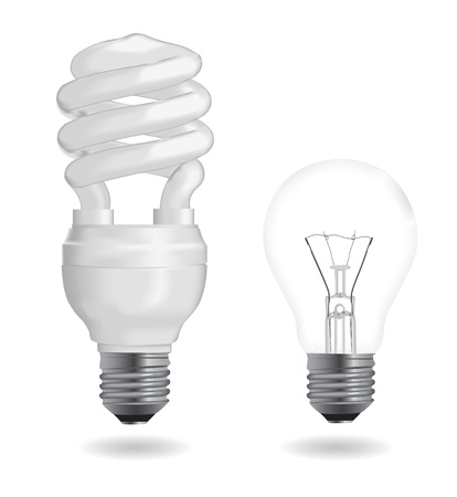 Incandescent and fluorescent energy saving light bulbs. Vector Illustration. Vector