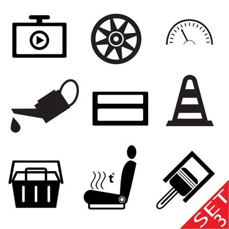 예비의: 자동차 부품 아이콘 3 벡터 그림 eps8를 설정 일러스트