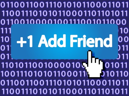 1 Add Friend Button with Hand Cursor Stock Vector - 12796431