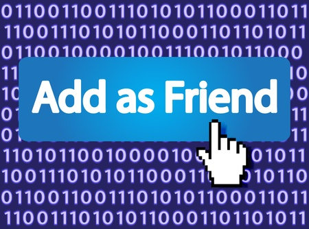 Add as Friend Button with Hand Cursor Stock Vector - 12796392