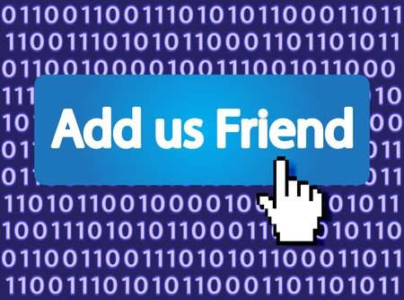 Add us Friend Button with Hand Cursor Stock Vector - 12796412