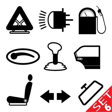 할로겐: 자동차 부품 아이콘 설정 6 일러스트