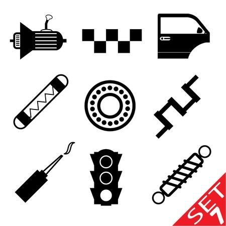 ベアリング: 車部品アイコン セット 7  イラスト・ベクター素材