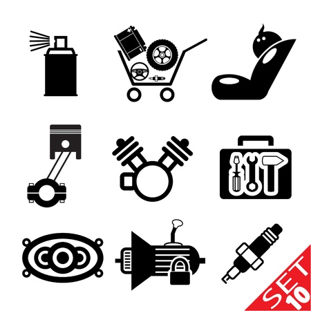 auto parts: Car part icon set 10  Vector Illustration EPS8