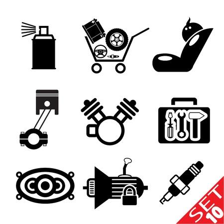 piezas coche: Icono de la pieza del coche fij� el 10 de Ilustraci�n Vector EPS8