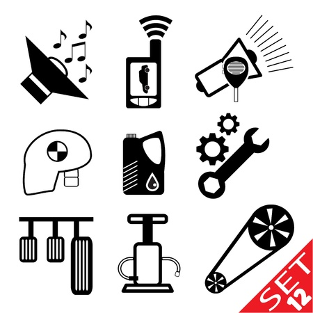 Auto Teil icon set 12 Standard-Bild - 12796474