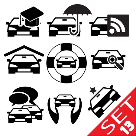 driving school: Car part icon set 13