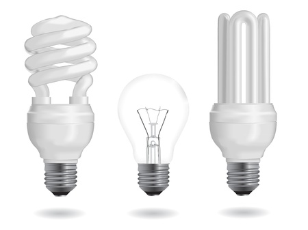 Incandescent and fluorescent energy efficiency light bulbs Stock Vector - 12796504